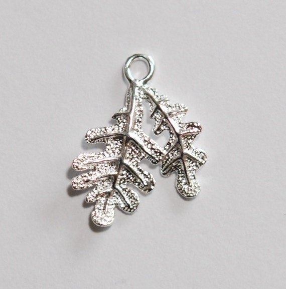 3 x sterling silver leaf charm pendant dangle 15mmx19mm (12110pend)
