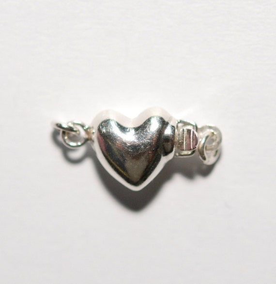 1 x 925 sterling silver 1 strand puff heart pearl box clasp 8mmx15mm (12185clsp)