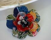 Kimono Fabric Sakura Flowers Choker \/ Necklace Ring