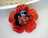 Red Kimono Fabric Sakura Flower Necklace Ring \/ Choker