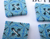 SHIPPING INCLUDED (USA & Canada)  - 6 Psychedelic Square Polymer Clay Beads