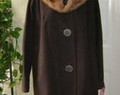 Vintage Chocolate brown wool coat, wool blend brown coat  reddish fur collar size M/L, dolman sleeve full soft wool brown coat fur collar