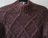 Vintage thick chunky wool cabled sweater, heathered eggplant color wool blend pullover sweater, winter weight sweater sz S/M Jones New York
