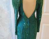 Emerald green silk beaded sequined evening gown disco style size 10