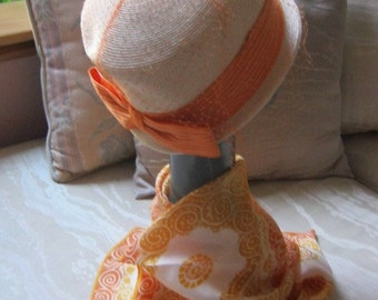 Vintage cream beige  light coral structured hat, summer beige peach toque hat with netting and bow, summer hat PERFECT