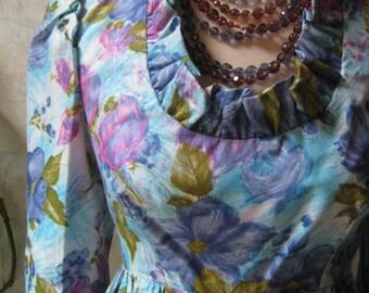 Vintage blue flowers  hippie maxi dress, blue maxi dress  soft watercolor look flowers, blue flowers dress ruffled neck sz M