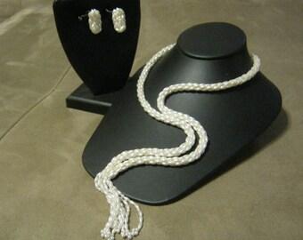 Vintage faux pearl  tassel necklace earrings set, tiny faux pearls necklace earrings set, woven faux pearls necklace earrings set