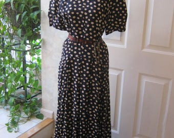 Vintage navy blue ivory dotted long dress,  Maggie London navy dotted long dress,70s 80s navy blue big dots dress size 12
