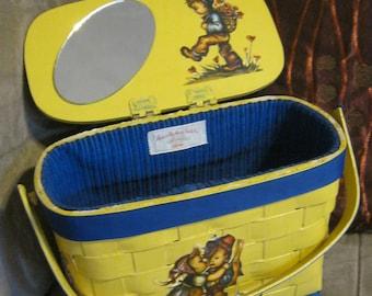 Vintage yellow painted woven wood basket, yellow basket handbag, purse with decoupage Hummel children in 3D MINT