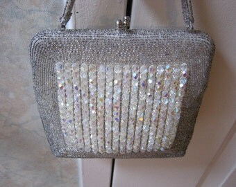 Vintage clear crystals evening bag, flapper style small bead bag, silver bugle beads crystal beads square shape evening bag, collectible bag