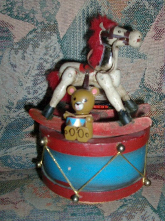 Little Wooden Music Box With Rocking Horse Teddy Bear And
