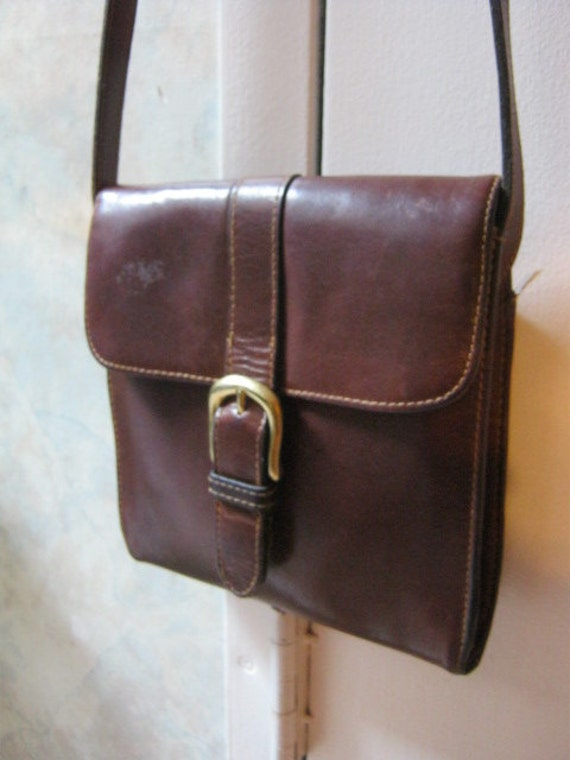 Small Thick Dark Brown Leather Crossbody Bag By Bass