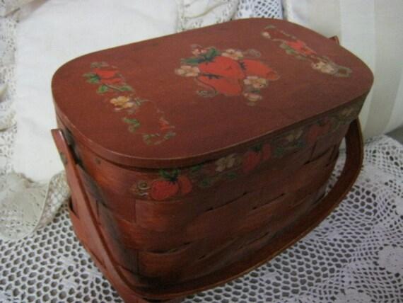 Vintage wooden woven basket bag, woven wood basket bag with strawberry detail, strawberry painted picnic basket handbag