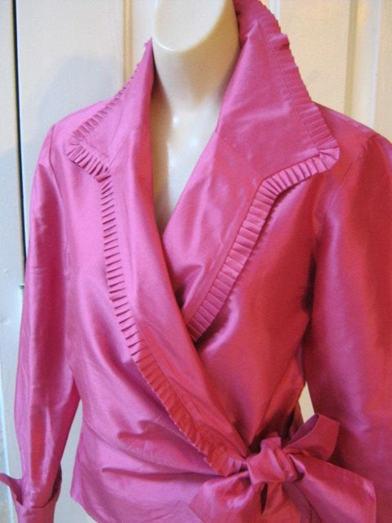 Rich Dark Pink Silk Wrap Ruffled Evening Blouse By Dana