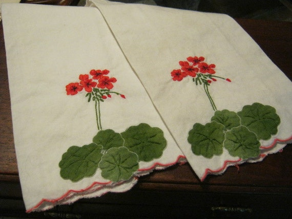 Set of 2 hand embroidered and appliqued tea towels with geranium flowers