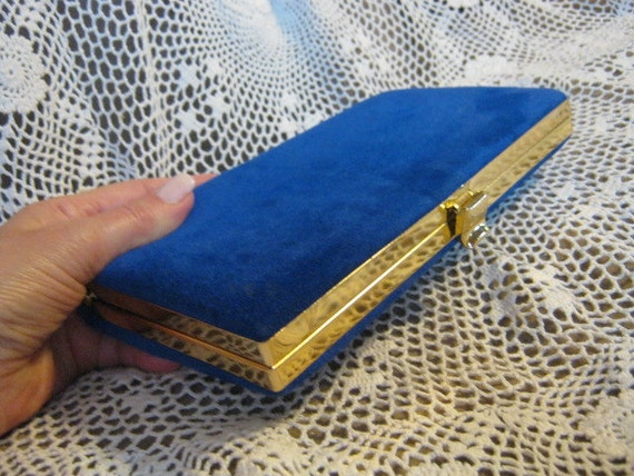 Perfect small cobalt blue suede structured framed clutch by Shirl Miller