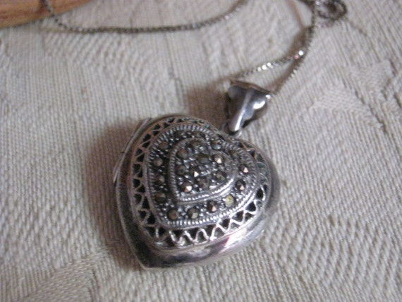 Puffed sterling silver marcasite heart picture locket with chain