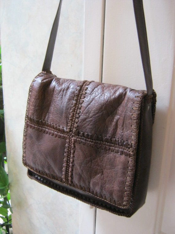 Hippie boho distressed brown leather patchwork whipstitched shoulder or crossbody bag