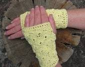 Crochet Fingerless Mitts, Pattern for Lacy Gloves to make for yourself