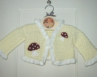 HALF-OFF SALE: 50% off Baby girl sweater with toadstools mushrooms Woodland Waldorf - from my published book