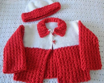 HALF-OFF SALE:  50% off Toddler sweater set  - Jolly red & white Christmas sweater and hat for 2-year-olds