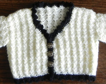 ON SALE:  25% off Victorian baby sweater in black and cream - boy or girl cardigan w/brass colored buttons - Size 9 months