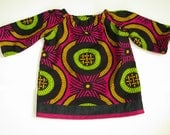 CUSTOM ORDER for lucia4 - African Wax Print Baby Peasant Top in hot pink, green, black with denim border