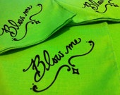 Set of 2 Neon Green Hand Screened Mens Handkerchiefs, Blow Me