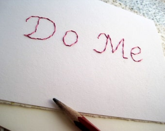 Embroidered Card, Do Me Card in Red/Pink