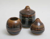RESERVE FOR BILL 1 of three Wheel Thrown tiger eye brown Stoneware pots