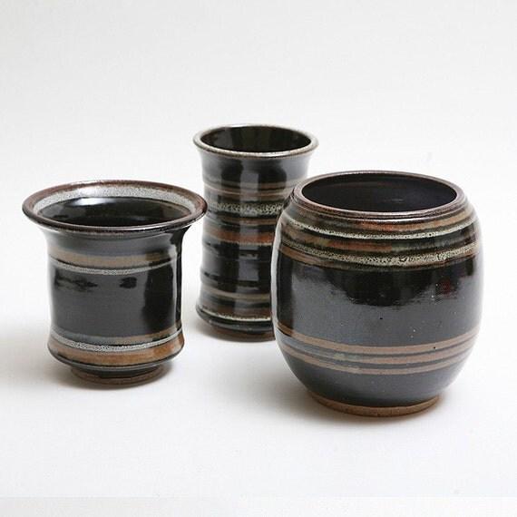 Wheel Thrown set of Three different stoneware pots