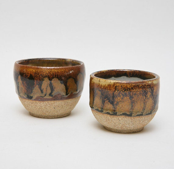 Wheel Thrown stoneware slightly mismatched sized tea cups