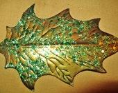 Vintage Dresden Metallic Pressed Paper Die Cut Foil Craft Supply Leaves Bronze w/ Green Glitter