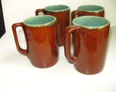 4 Coffee Mugs Stoneware Brown Turquoise Teal Red Wing or Louisville Pottery