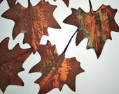 Vintage Millinery Supply Maple Leaves Brown Linen Fabric w/ copper green black Metallic Handpainted