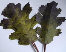Vintage Millinery Flower Leaf Linen Fabric Gray Lime Purple Black Oak Leaves wired DIY supply Floral Crown Wicca Weddings