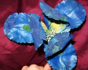 Vintage Millinery Flower Blue IRIS Flag Handmade 1950's Hat Craft DIY Wedding Arrangement Corsage Supply