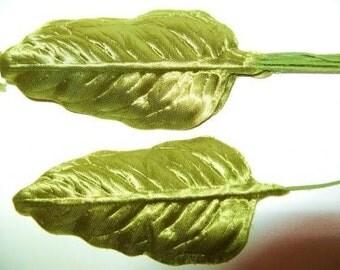 Vintage Millinery Leaves Supply ASPARAGUS GREEN Millinery Flower Satin Ivy Leaves DIY Hair Crown Hat Supply