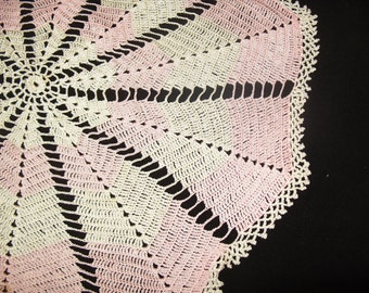 "Pink Vintage Doily Small Tablecloth 28"" Pink & Cream Silky Crochet Doily"