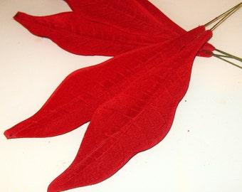 """8"""" Vintage Millinery Leaves Millinery Flower Petal RED VELVET DIY Wreath Corsage Making Supplies"""