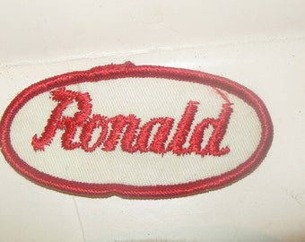 Vintage Name Patch Rockabilly Punk Name Tag RONALD Red Hat Jacket Mechanic Trucker