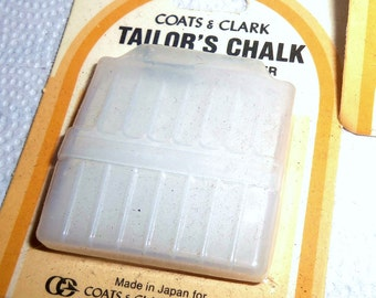 White Tailor's Chalk Sewing Dress Pattern Fabric Marker Vintage w/ Holder Sharpener