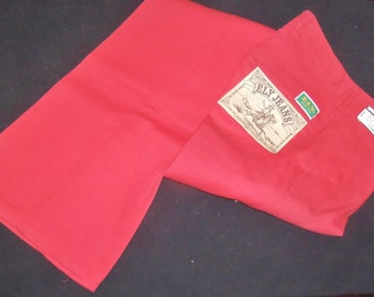 Vintage Colored Jeans Bright RED Western Pant size Small Tall 5 6  26 x 34 NOS