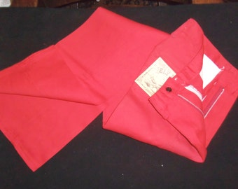 Vintage Colored Jeans Bright RED Ely Western Pant size 5 6 Small Tall  27 waist x 34 inseam NOS