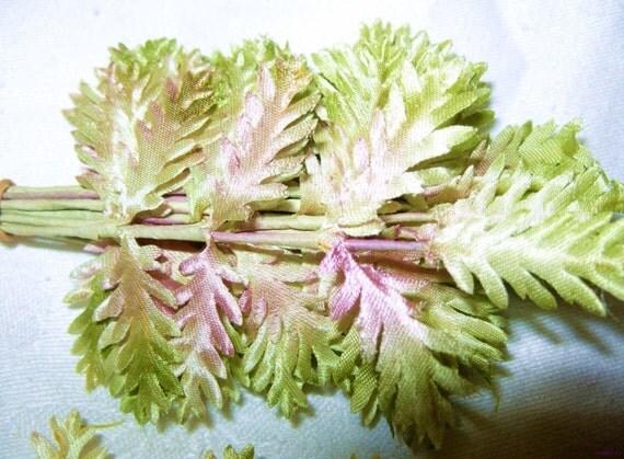 Satin Millinery Vintage Fern Leaf Flower Stem Ombre Pink Green White