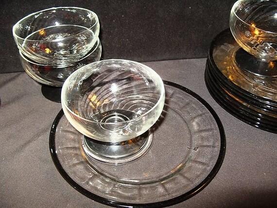 4 Vintage Shrimp Cocktail Plate Dish Westmoreland Black on Clear Optic Glass Sherbet