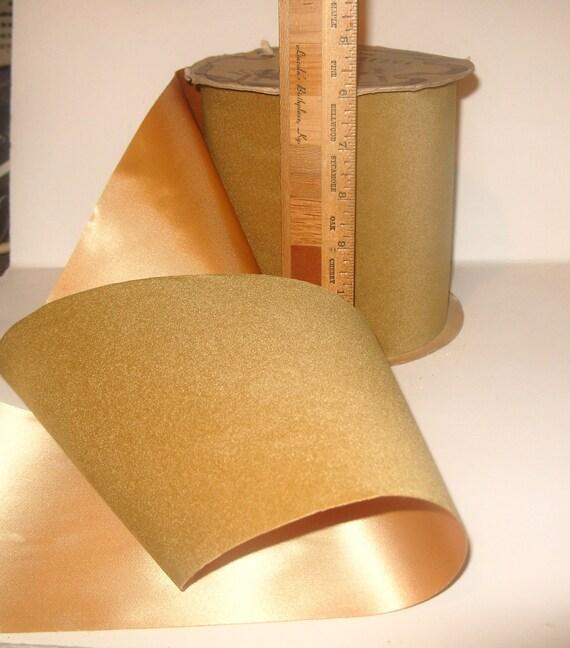 Vintage CIJ Velvet & Satin Christmas Ribbon 6 inch wide Velvette Golden Olive Green Florist Bow Outdoor / Indoor