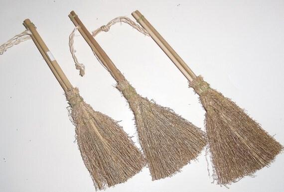 "6 Miniature Twig Straw Broom Vintage 8"" Primitive - Doll- DIY Wedding -Besom  Craft Supply"