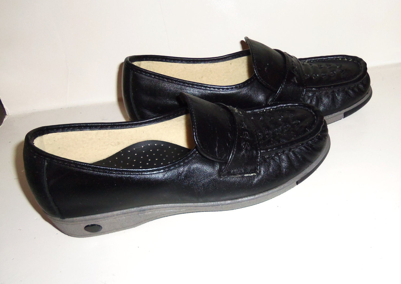Vintage Black Granny Shoes UNUSED Handsewn VENUS Gray Wedge