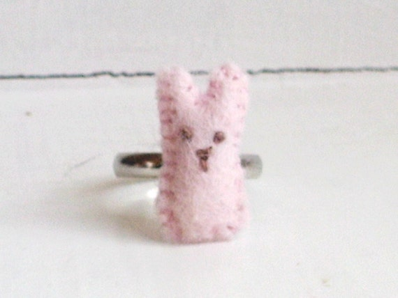 SALE -- Easter Bunny Peep Ring -- silver plated pastel rabbit on an adjustable band